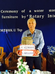 Cash donation for water project,